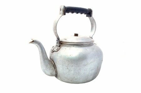teakettle: Small classic kettle for camping isolated on white background Stock Photo