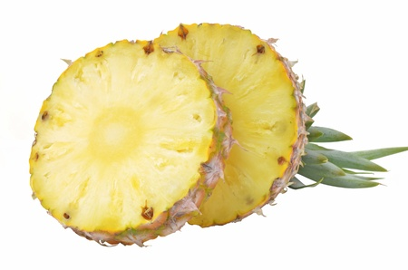 Pineapple cut on a white background. Stock Photo