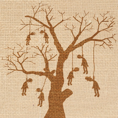 the noose: Scary halloween scene with hanging body