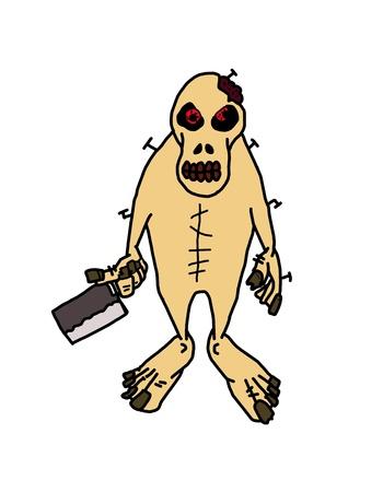 ghoulish:  zombie cartoon isolated on white Stock Photo