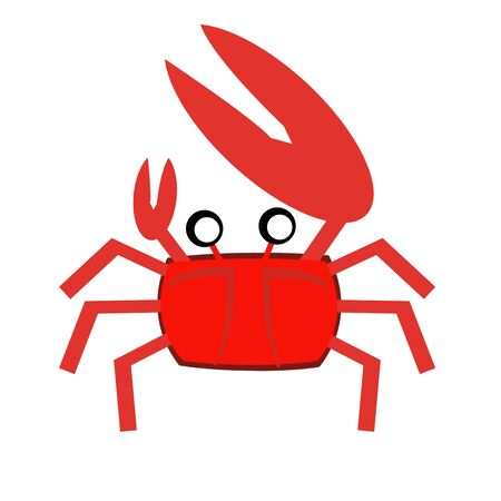 crustacea: Smiling red sea crab with claws illustration Stock Photo