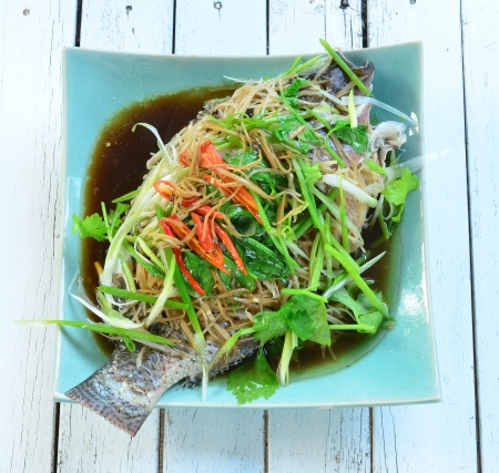 Steamed fish.  photo