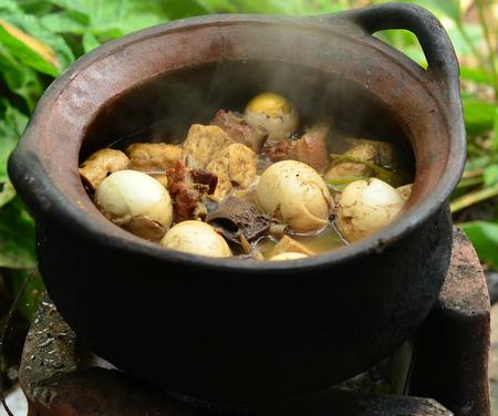 stewed: Boiled eggs stewed with pork