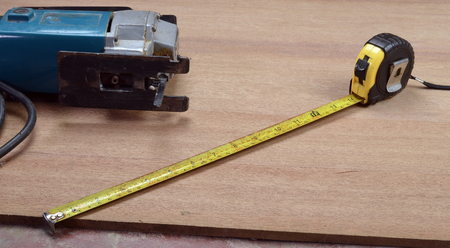 carpenter measuring tape Stock Photo