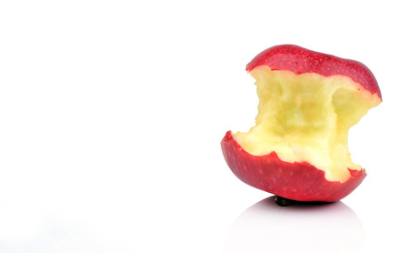 biten: red apple core isolated on a white background Stock Photo