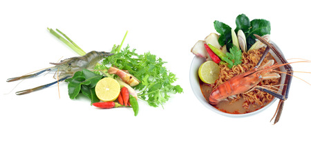 yum: prawn mee, prawn noodles Tom Yum Goong. Stock Photo
