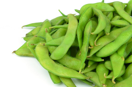 glycine: Green soybeans on white background Stock Photo