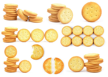 snacking: Round crackers in stack, isolated