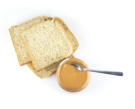 peanut butter sandwich on white background photo
