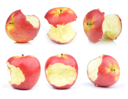 Red apple core on a white background Standard-Bild