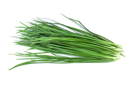 Bundle of garlic chives isolated on white background Foto de archivo