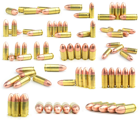 9mm: 9mm bullet for a gun isolated on white background.