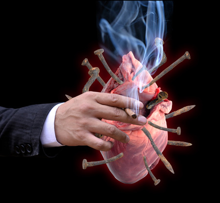 Heart disease from smoking Stock Photo