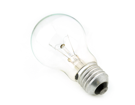 Old bulb isolated on white background.