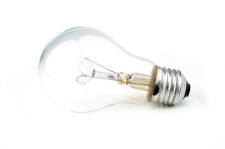 wastage: Old bulb isolated on white background.