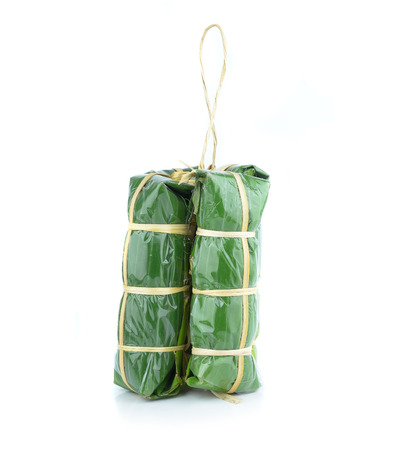 nem: fermented ground pork in banana leaf packing Stock Photo