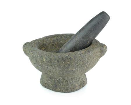 morter: Stone mortar and pestle Stock Photo