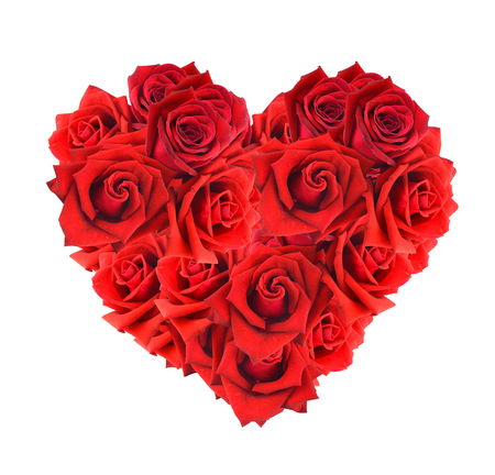 Heart shaped bouquet of red roses isolated over white background