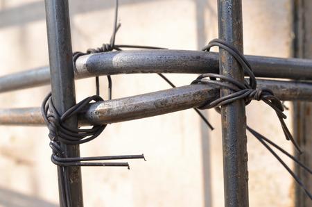 berm: Selective focus steel tied. Construction site.