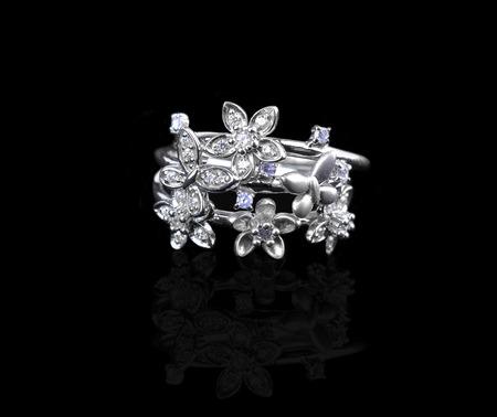 diamond: Diamond ring on black Stock Photo