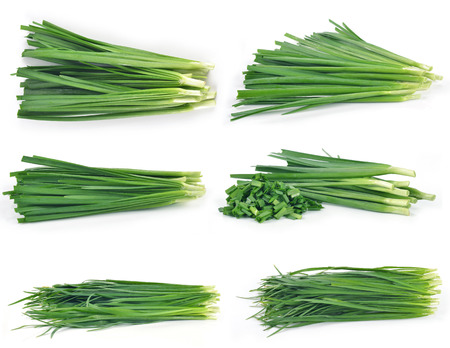 vietnamse: Garlic chives isolated on white background