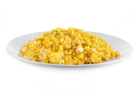 vegetable cook: Sweet whole kernel corn on white background