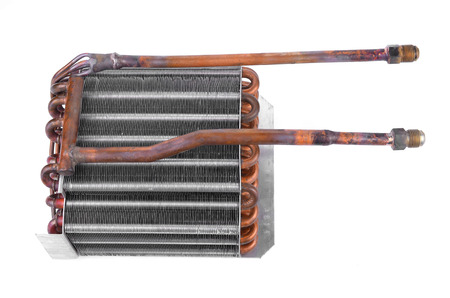 condenser: Car condenser radiator isolated on white background. Radiator top view of radiator for pick-up truck radiator set. Car air conditioner condenser.