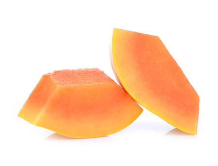 sweet background: slices of sweet papaya on white background Stock Photo