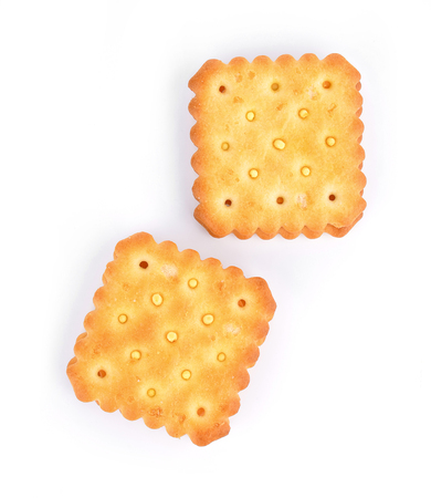 Cheese cream cracker isolated on white background.