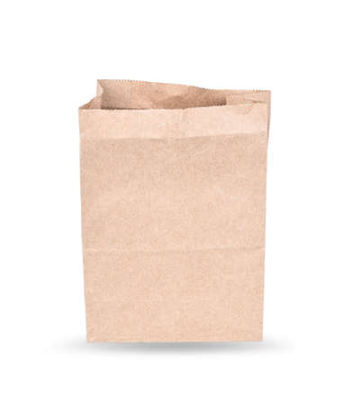 Brown paper bag isolated on white ; Clipping path