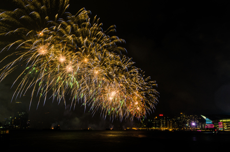 Fireworks in Hong Kong on July 1st