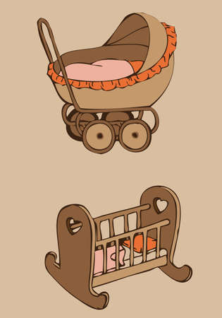 stroller and crib Vector