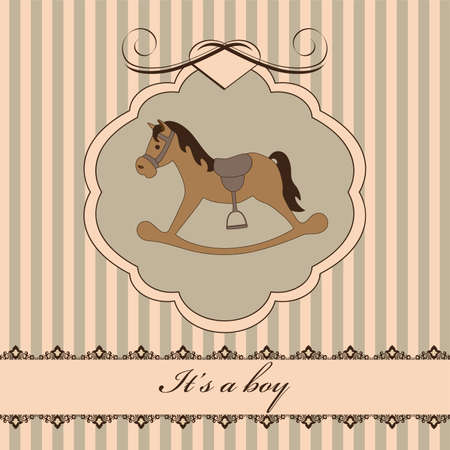Vintage baby boy arrival announcement card Illustration