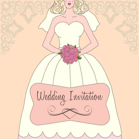 bride bouquet: Wedding invitation with white dress and flowers  Illustration