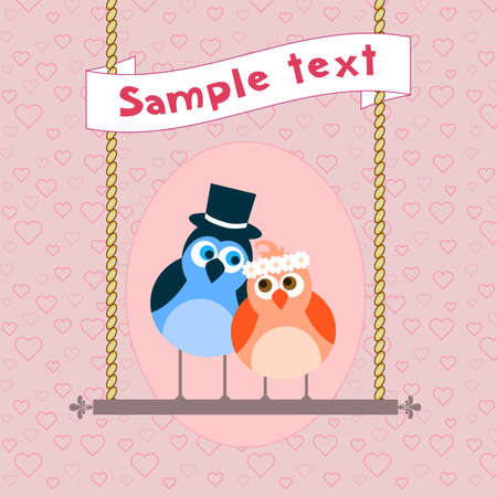wedding guest:  Cute bird in love.  Postcard, greeting card or invitation Illustration
