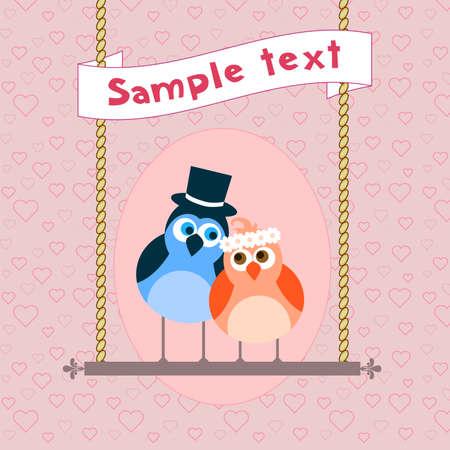 Lindo pájaro en el amor. Postales, tarjetas de felicitación o invitación Foto de archivo - 12433462