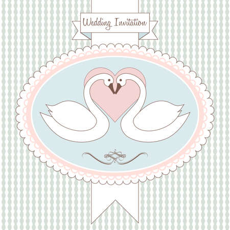 Love swan. Postcard, greeting card or wedding invitation