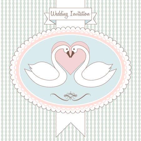 Love swan. Postcard, greeting card or wedding invitation Vector