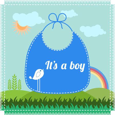 babero: Muchacho del vintage llegada del beb� anuncio de la tarjeta Vectores