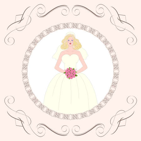 Bride   Postcard, greeting card or wedding invitation Stock Vector - 12495135