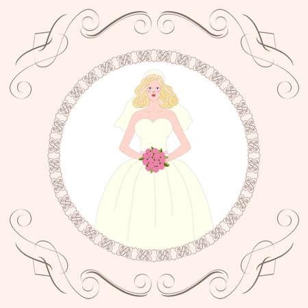 Bride   Postcard, greeting card or wedding invitation Stock Vector - 12495135