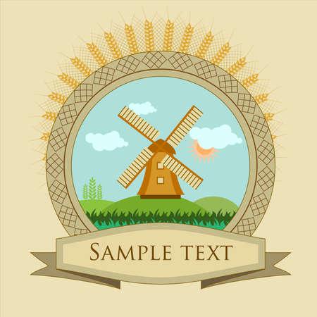 oat field: vintage frame, label windmill and grain illustration Illustration