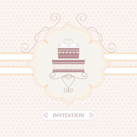 wedding invitation, greeting card or postcard, wedding cake Vector