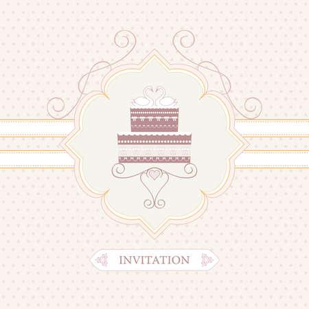 wedding guest: wedding invitation, greeting card or postcard, wedding cake