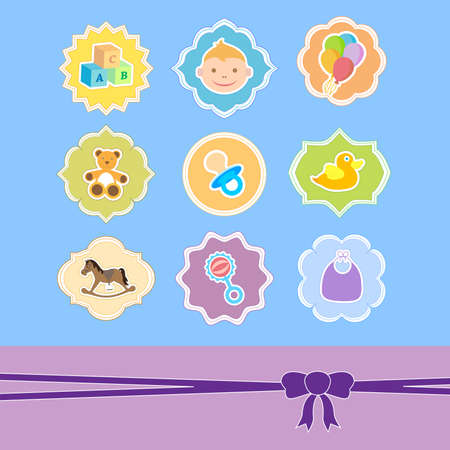 set baby icon in frame, baby arrival announcement  Vector