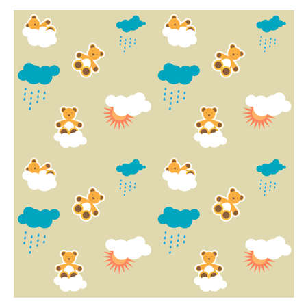 Pattern, seamless baby background  with teddy bear  Vector