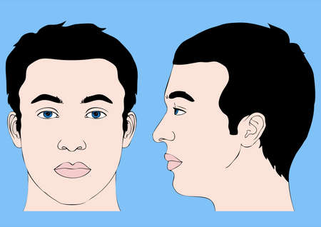 man face profile: human head, front profile and left side Illustration