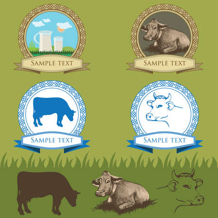 cow vintage labels set, farm animal Vector
