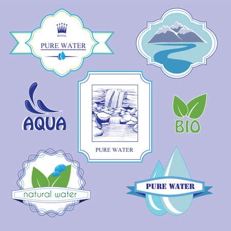 puros: etiqueta del agua, las etiquetas, los elementos insignia