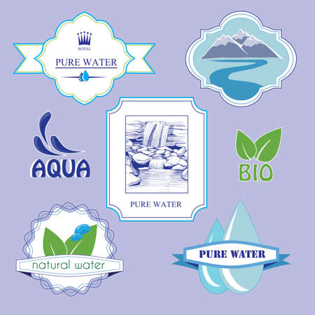bottled water: water sticker, labels, badge elements